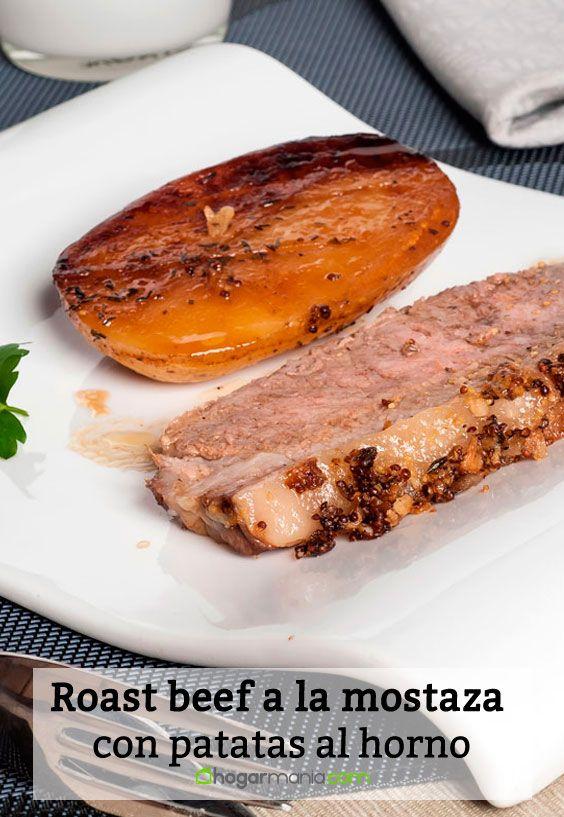 Roast beef a la mostaza con patatas al horno