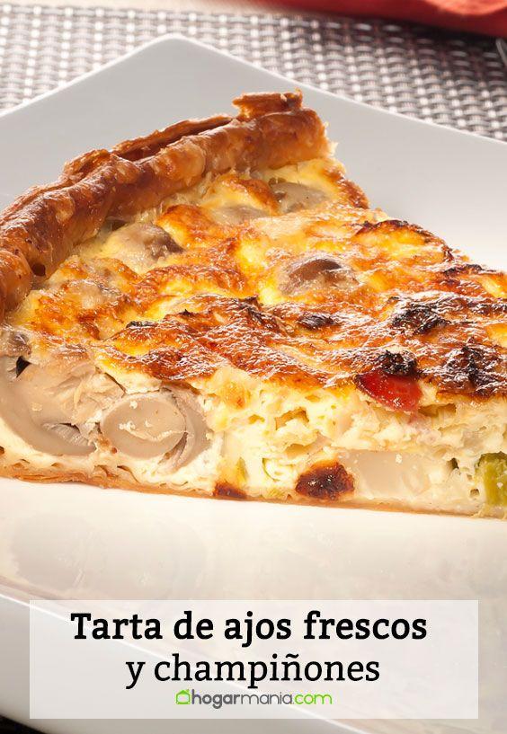 Receta de Tarta de ajos frescos y champiñones