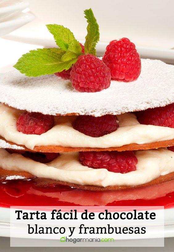 Receta de Tarta fácil de chocolate blanco y frambuesas