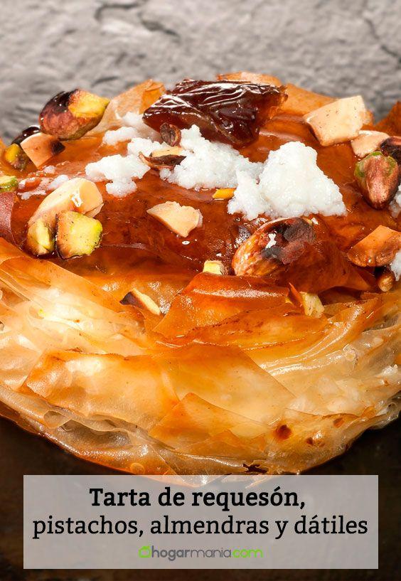 Receta de Tarta de requesón, pistachos, almendras y dátiles