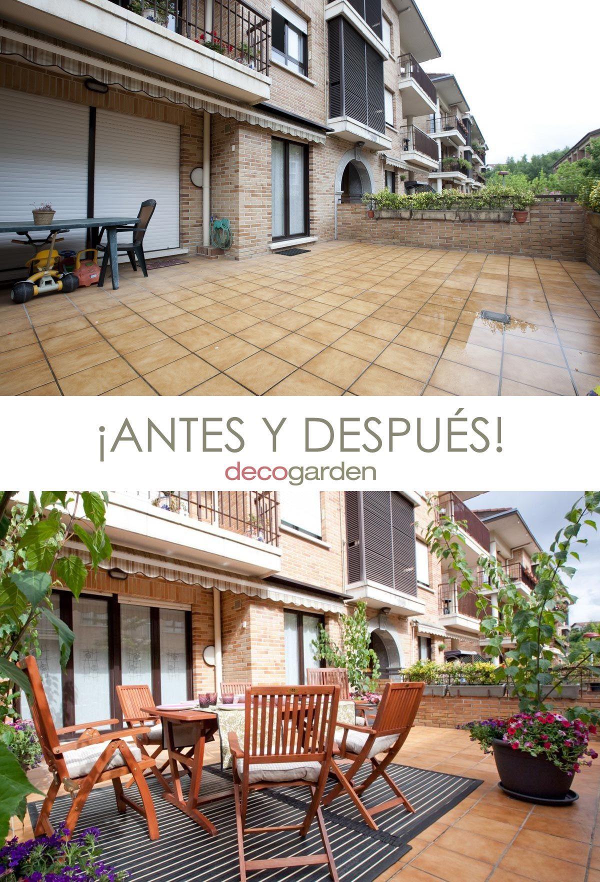 terraza colorida - antes y después