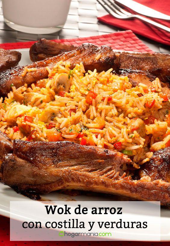 Receta de Wok de arroz con costilla y verduras