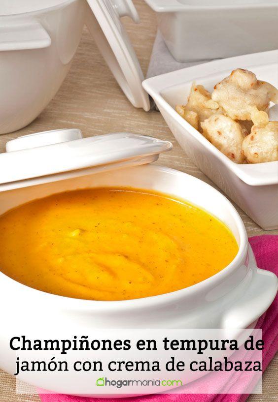 Receta de Champiñones en tempura de jamón con crema de calabaza.