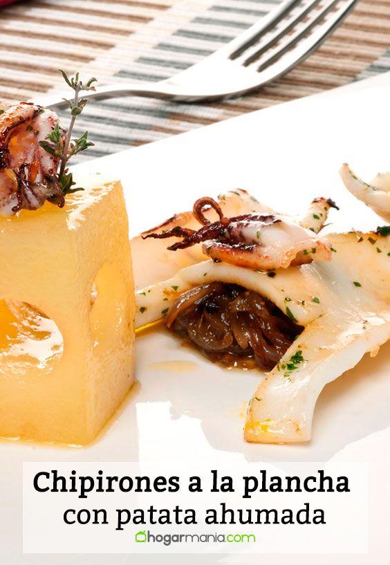 Receta de Chipirones a la plancha con patata ahumada.