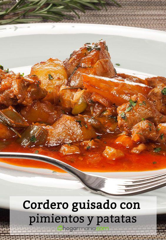 Receta de Cordero guisado con pimientos y patatas
