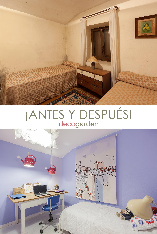 decorar dormitorio infantil colorido - antes y después