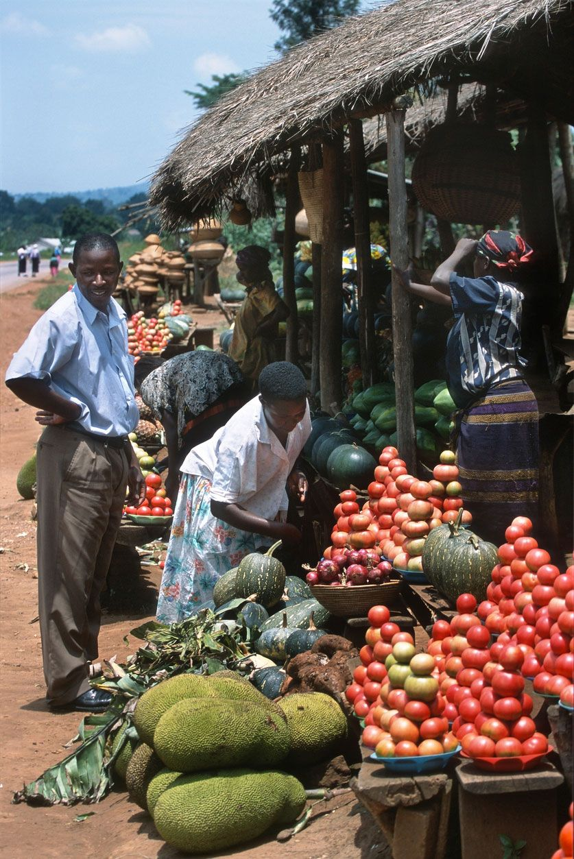 La fruta de pan en el mercado de Uganda