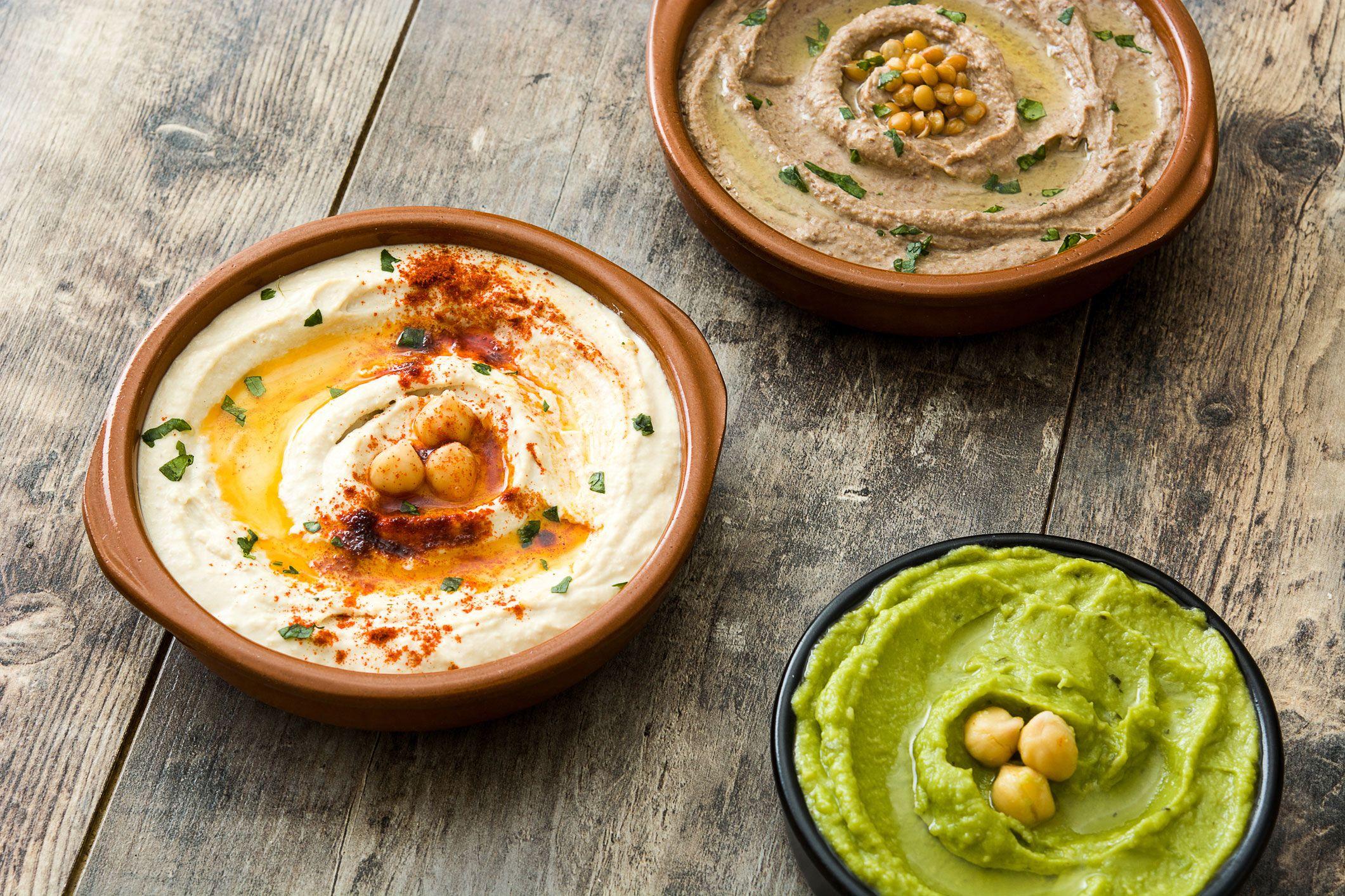 Hummus de garbanzo, lentejas y aguacate