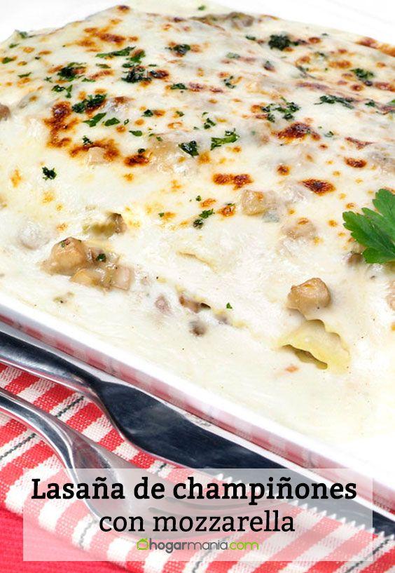 Receta de Lasaña de champiñones con mozzarella.