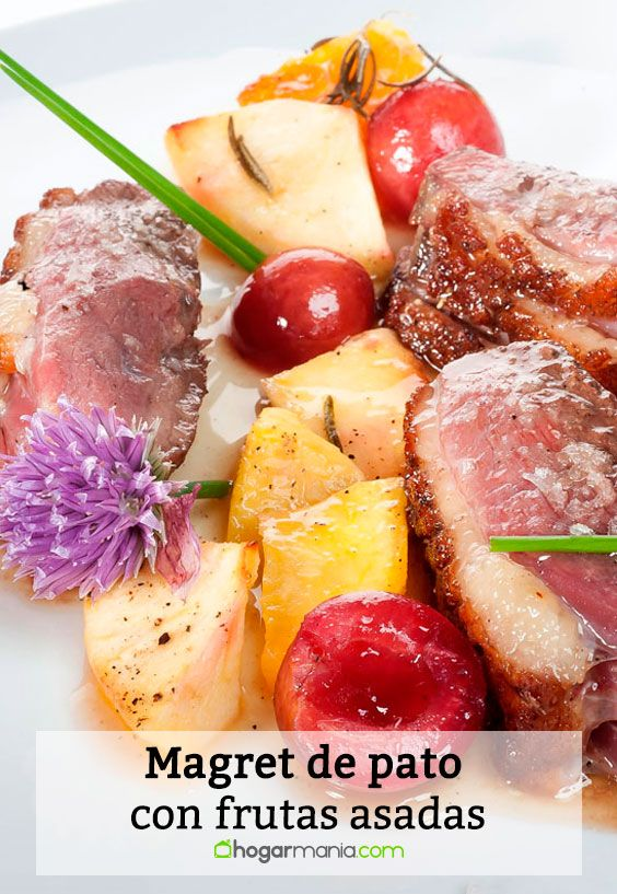 Receta de Magret de pato con frutas asadas.