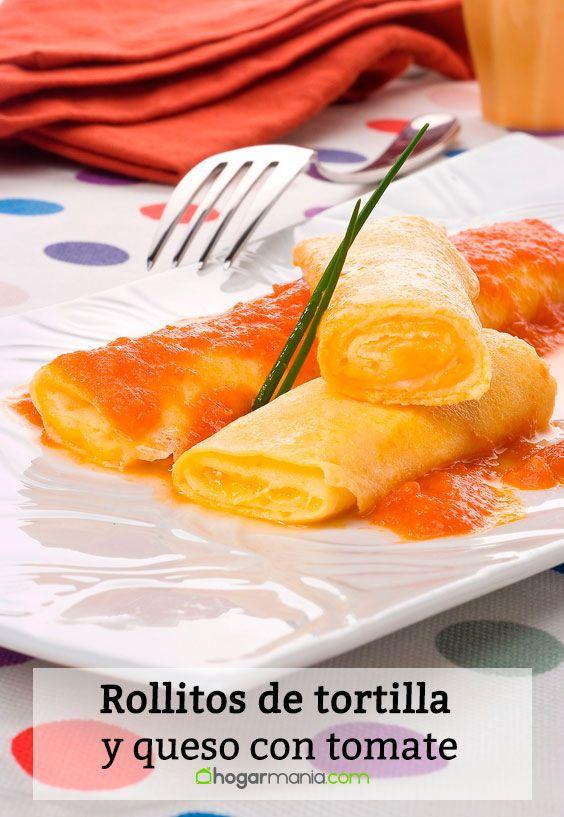 Receta de Rollitos de tortilla y queso con tomate.