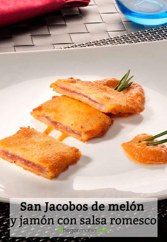 Receta de San Jacobos de melón y jamón con salsa romesco