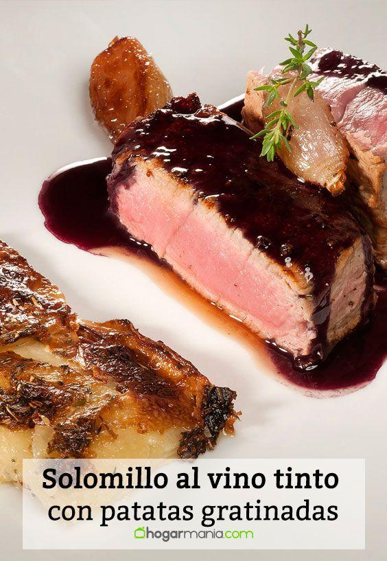 Receta de Solomillo al vino tinto con patatas gratinadas.