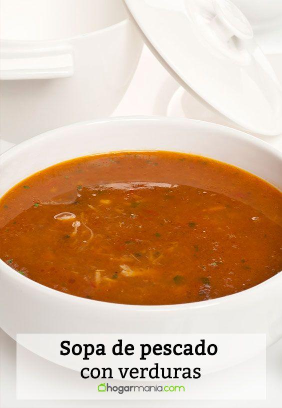 Receta de Sopa de pescado con verduras.