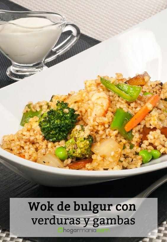 Receta de Wok de bulgur con verduras y gambas.