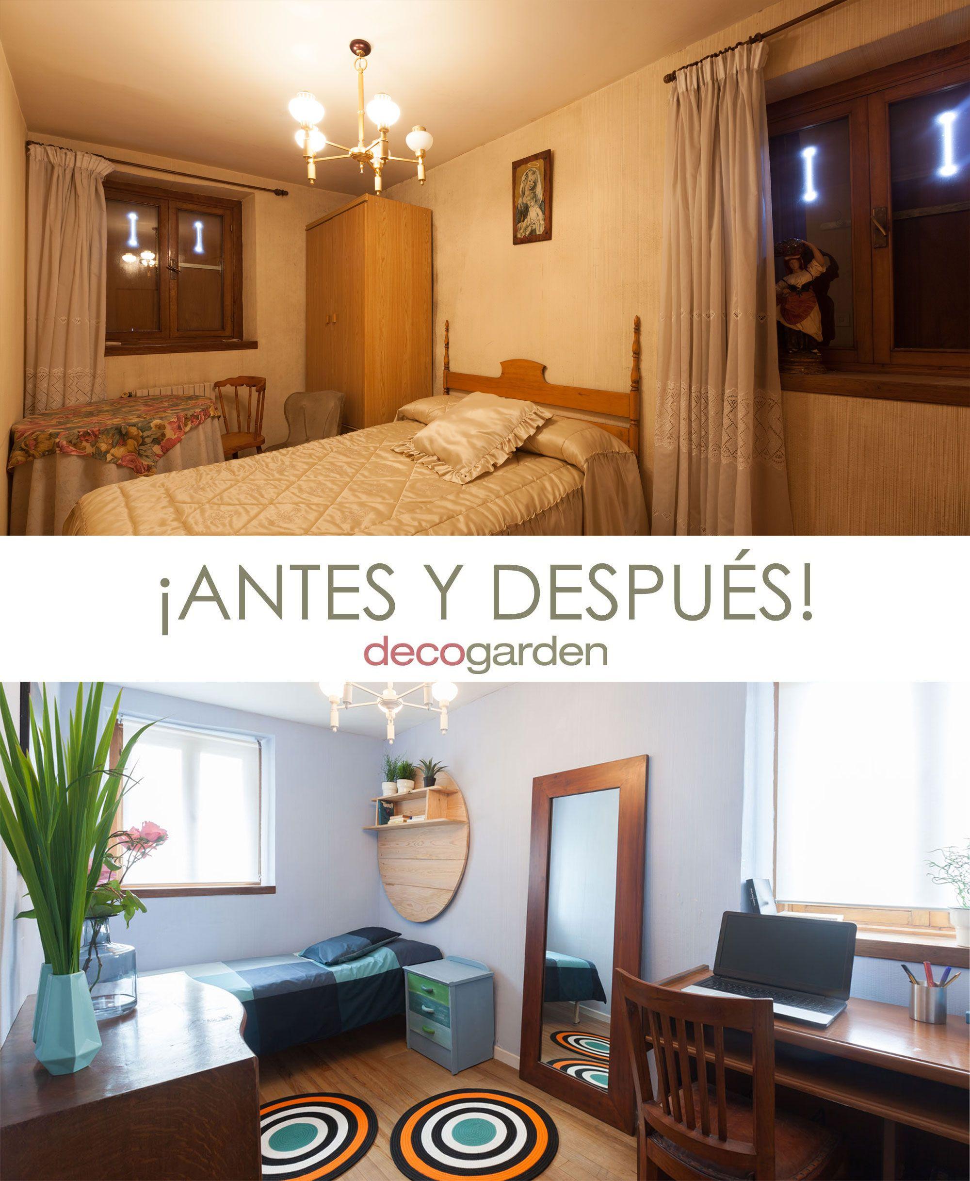 Antes y después dormitorio con estudio juvenil