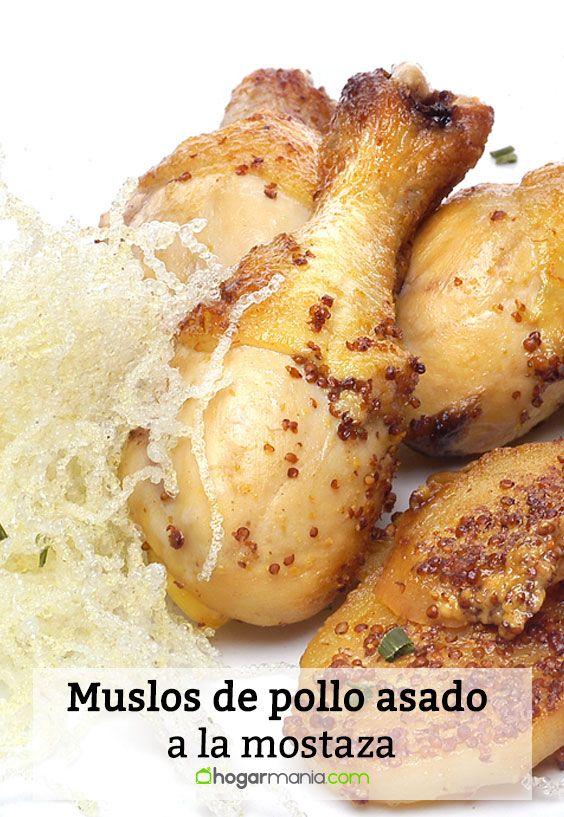 Muslos de pollo asado a la mostaza