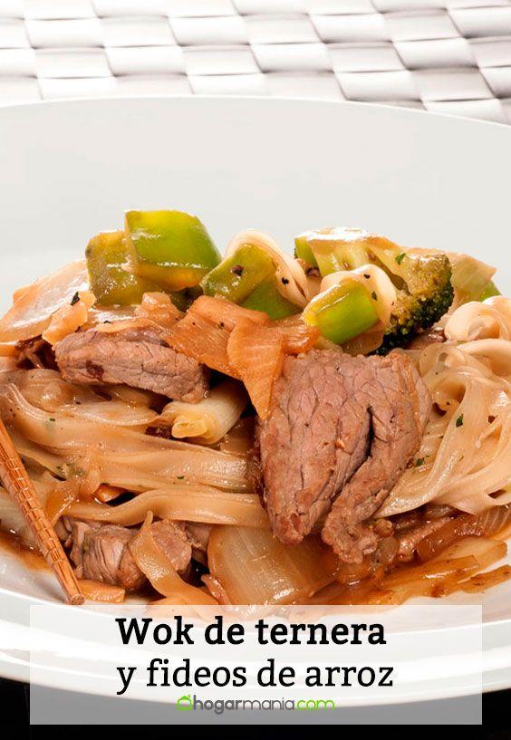 Receta de Wok de ternera y fideos de arroz.