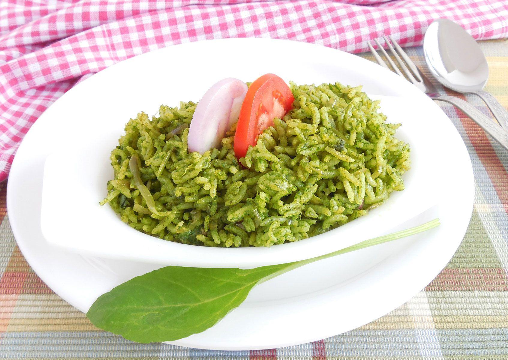Arroz verde con espinacas