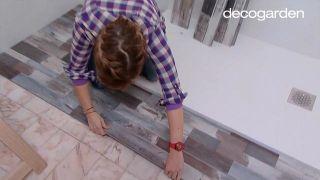 Colocar lamas de PVC en suelo de baño (zonas difíciles) - Paso 7