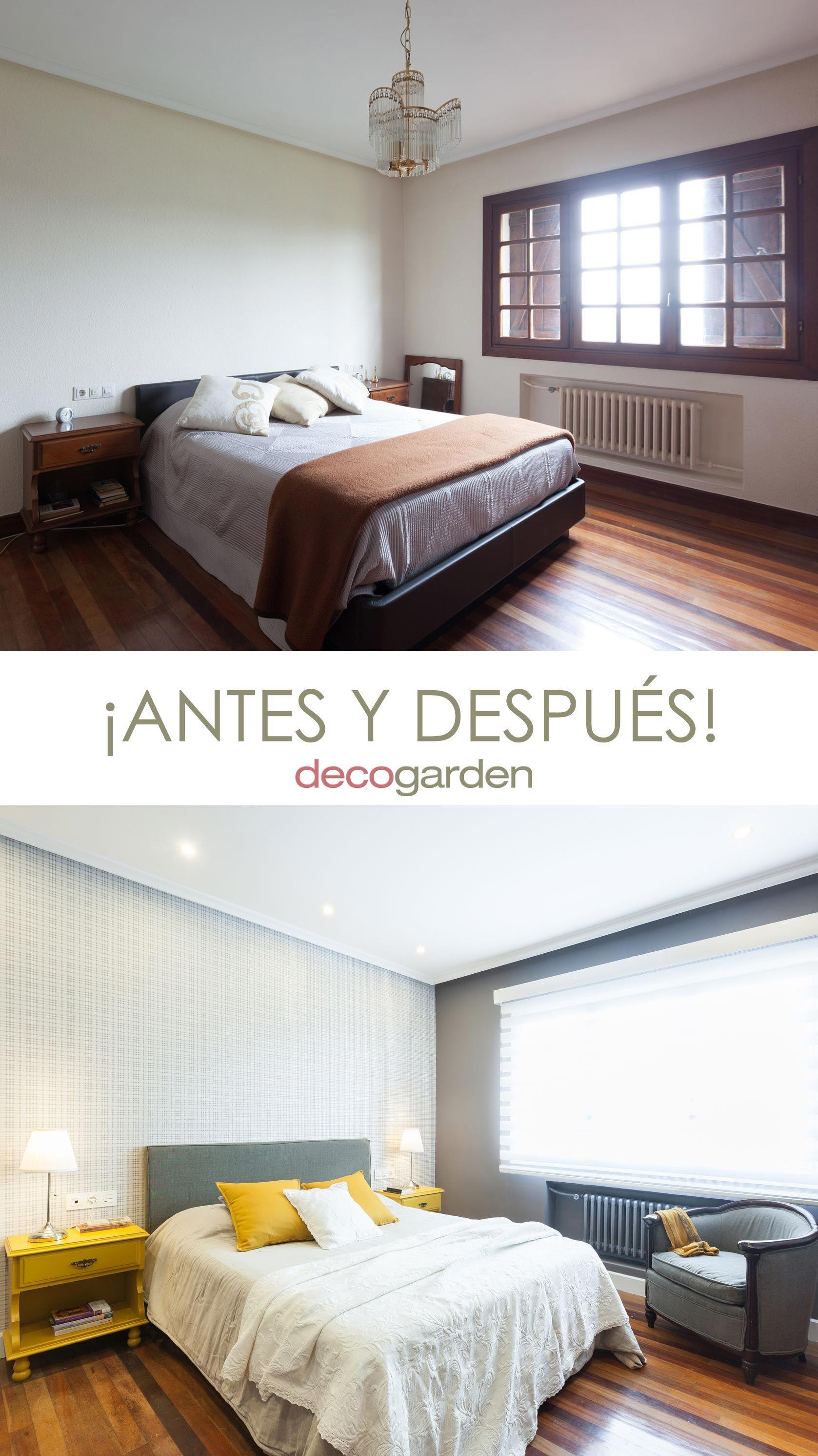 Dormitorio elegante en gris y amarillo - antes y después