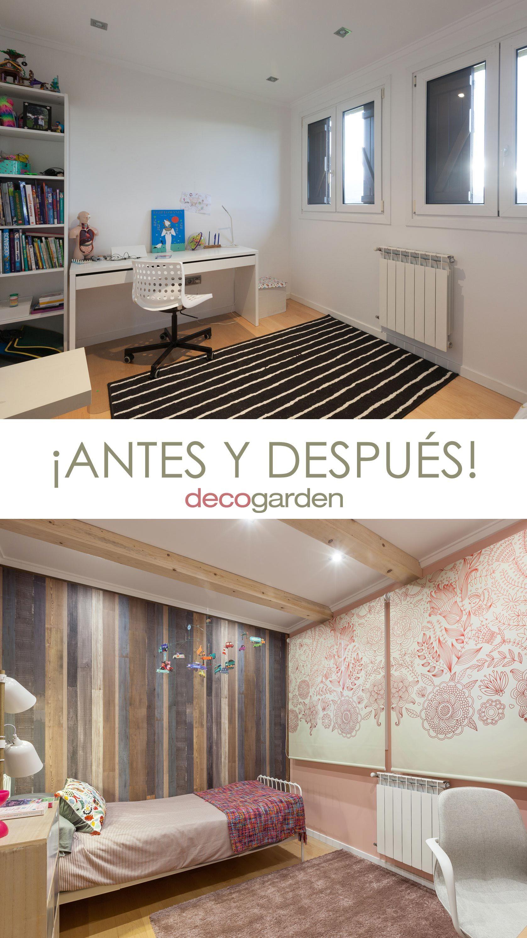 Decorar un dormitorio juvenil rústico en color rosa - antes y después