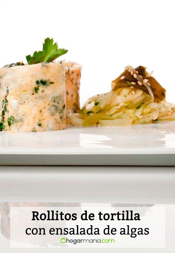 Receta de Rollitos de tortilla con ensalada de algas.