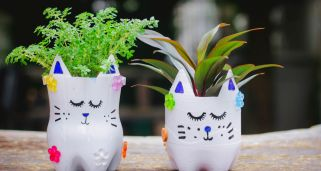 Tiestos DIY de gatitos con botellas de pl�stico