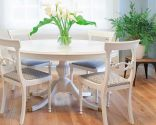 pintar mesa de comedor de madera en blanco - después