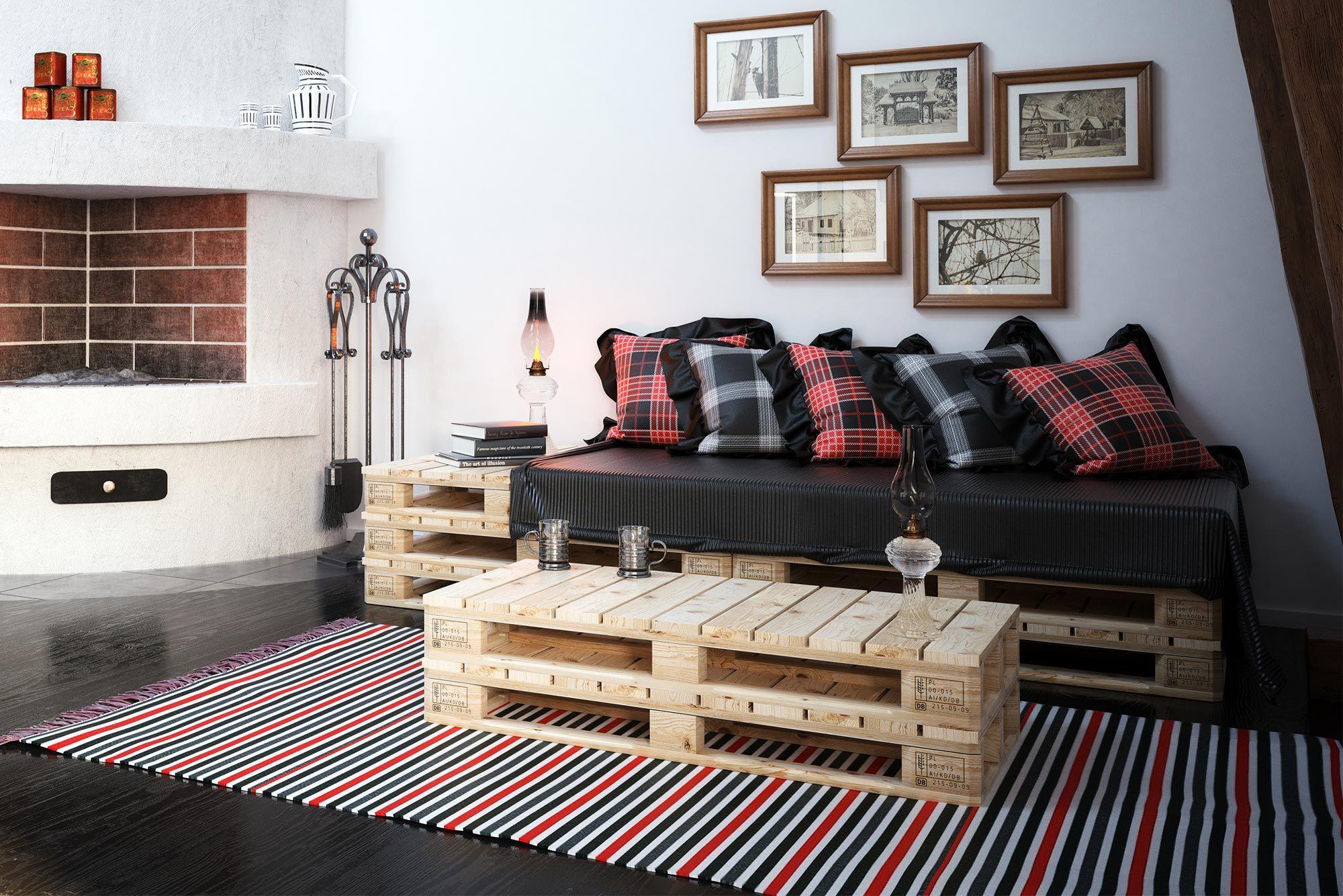 combinar sofá negro con tartán escocés