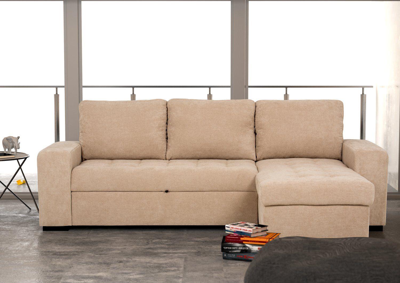 Sofá chaise longue reversible de tela con cama – Modelo HARRY de Conforama