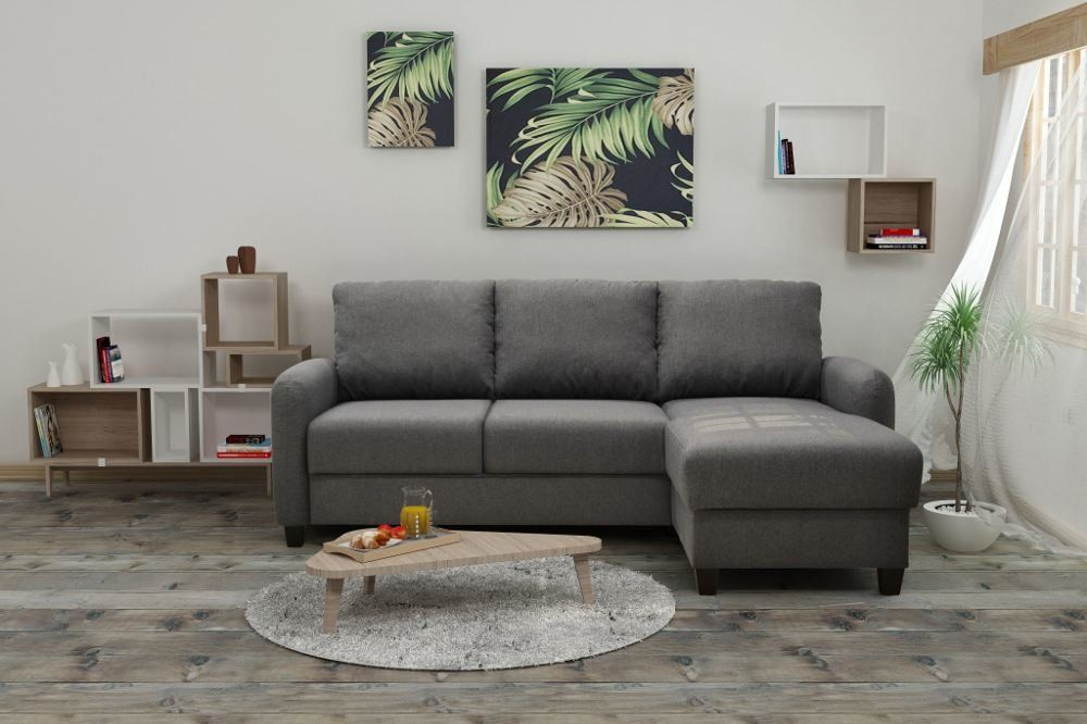 Sofá chaise longue reversible de tela – Modelo SOON de Conforama