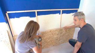 Decorar pared de dormitorio con friso de OSB iluminado - paso 1