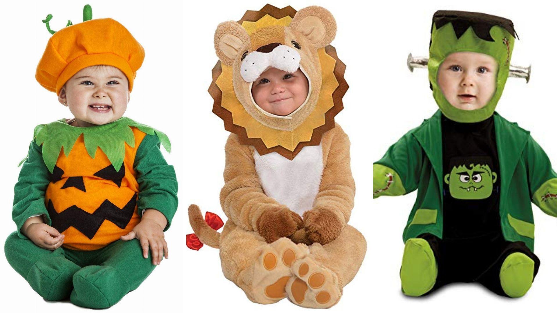 Disfraces para bebes de calabaza, león o frankenstein.