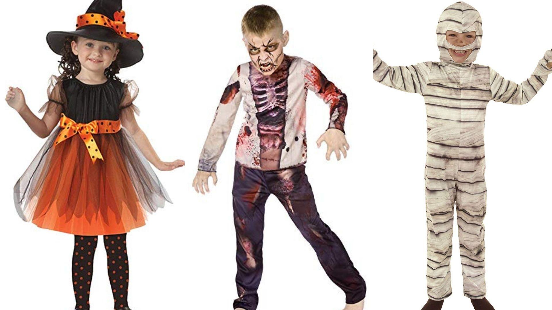 Disfraces para niños de bruja, momia y zombie.