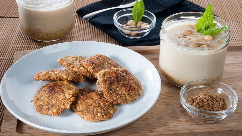 receta de natillas de avellana y galletas de plátano