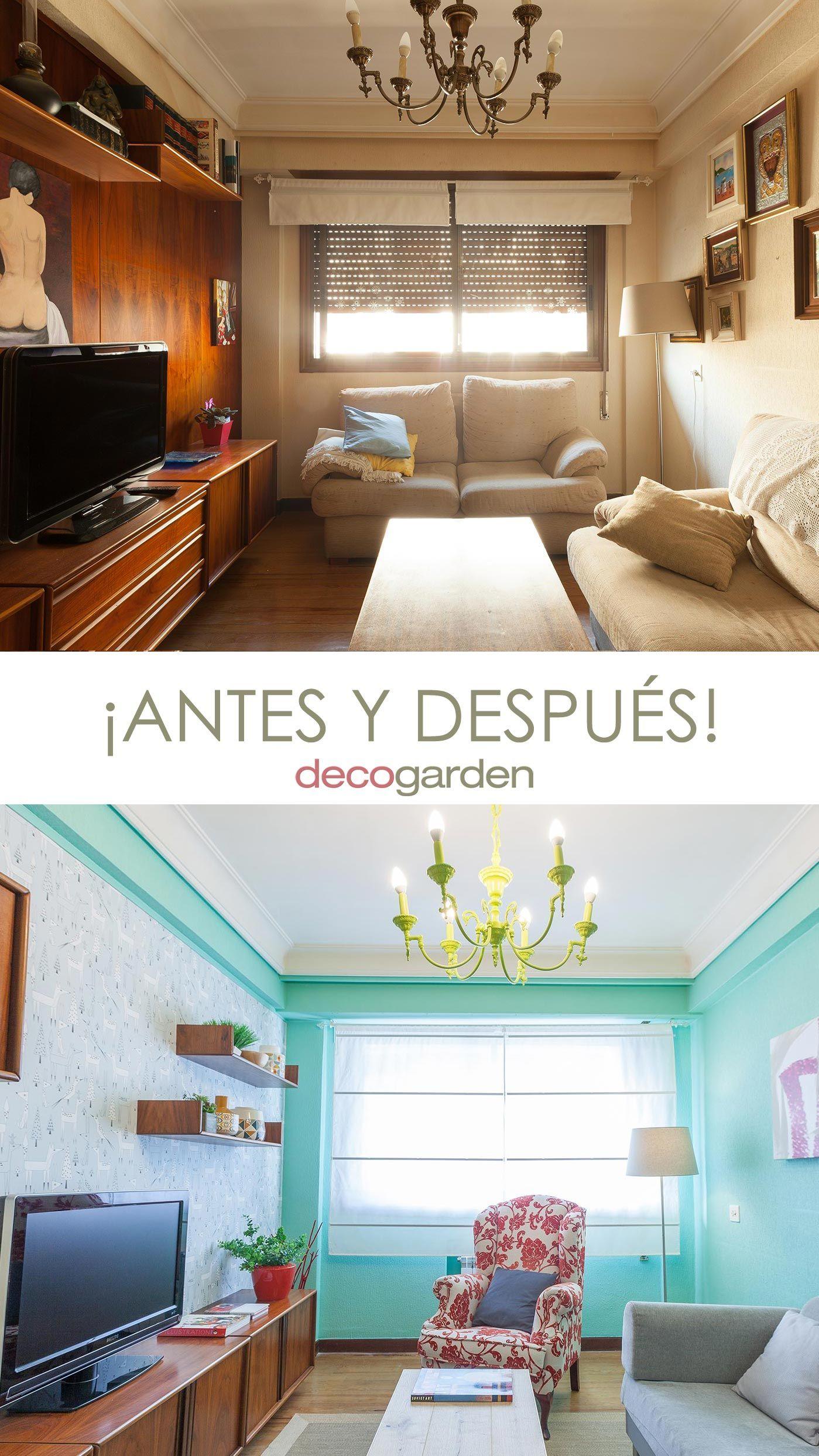 Decorar sala pequeña en color verde - antes y después