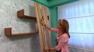 Decorar sala pequeña en color verde - encimera madera