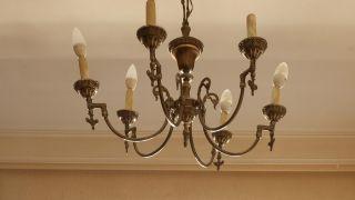Pintar lámpara araña de techo (color verde limón) - antes