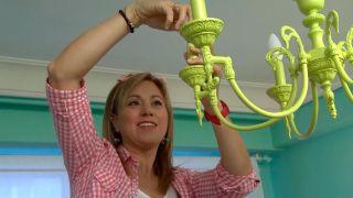 Pintar lámpara araña de techo (color verde limón)