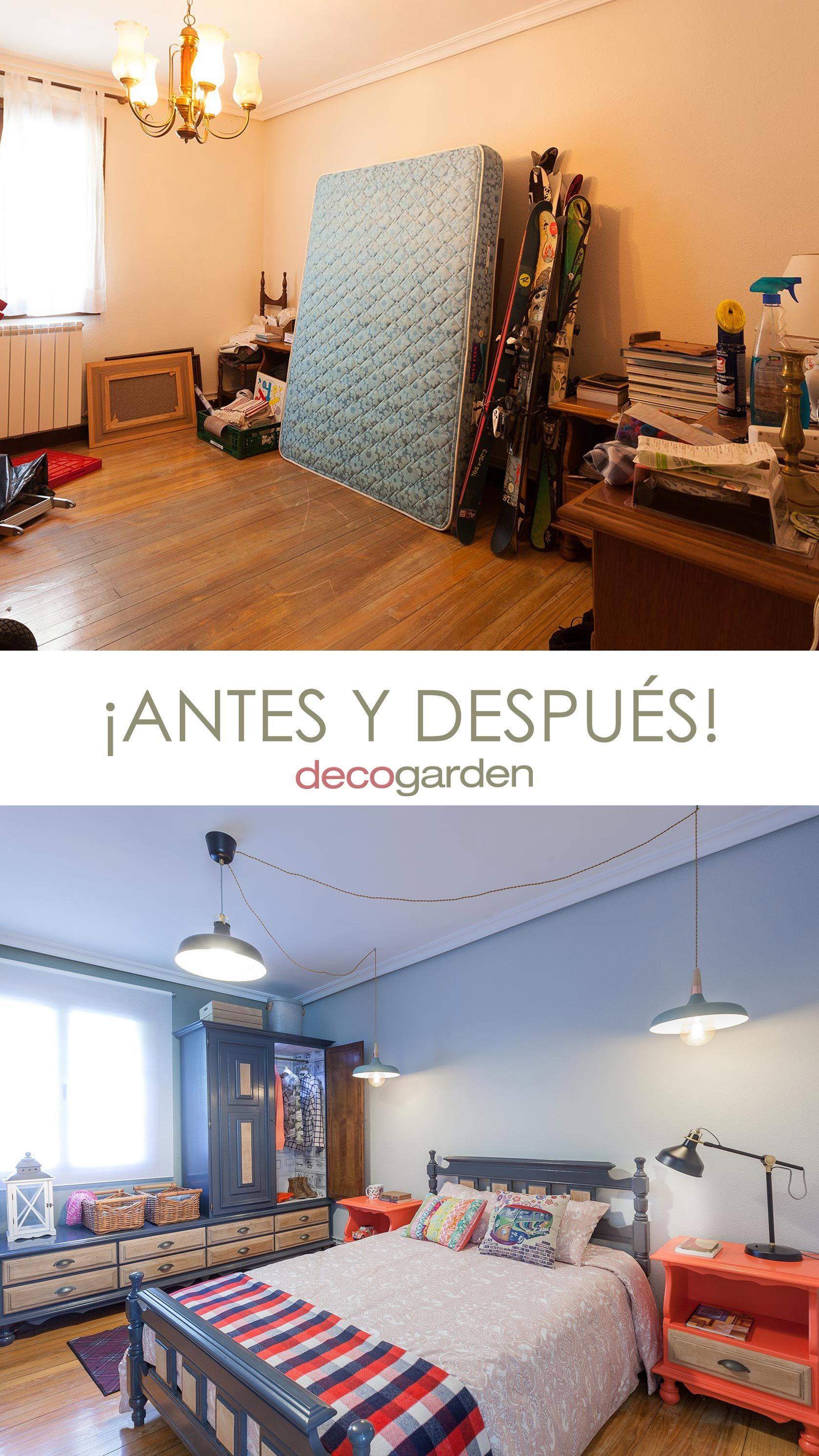 Decorar dormitorio juvenil industrial con muebles reciclados - antes y después
