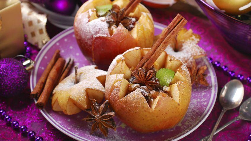 Manzanas asadas rellenas de nueces y pasas