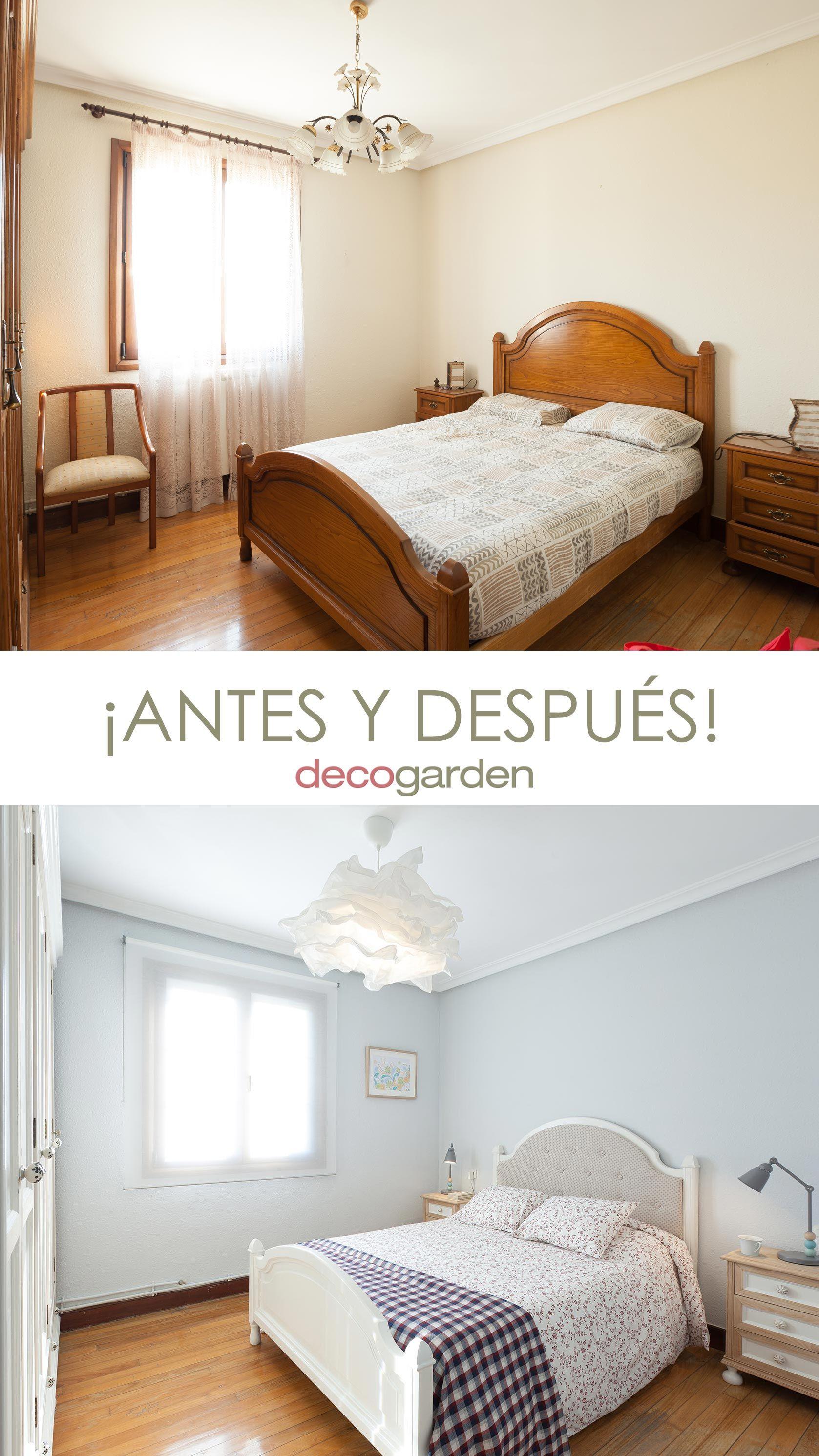 dormitorio luminoso y romántico con muebles reciclados