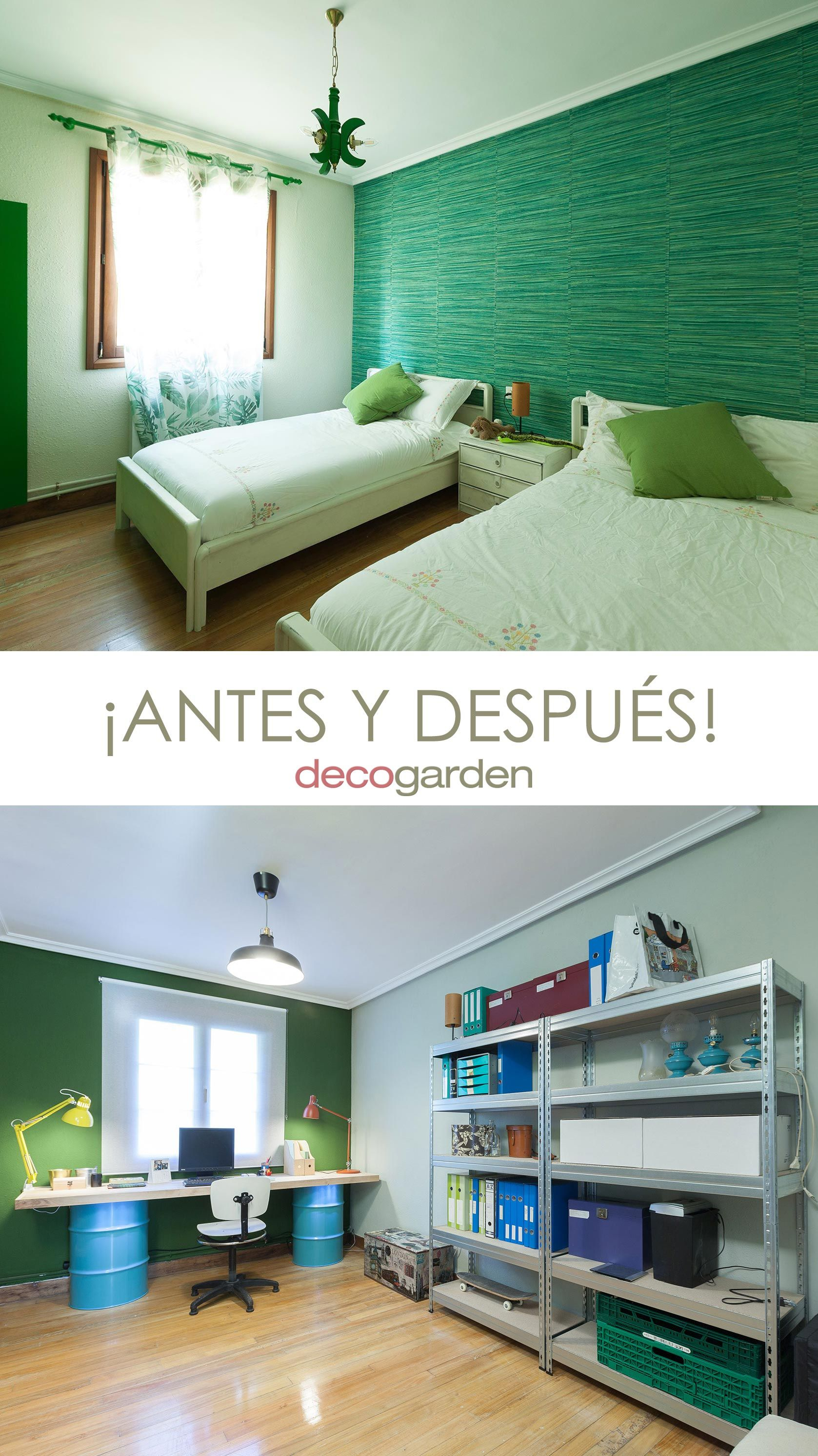 Decorar estudio multifuncional color verde - antes y después