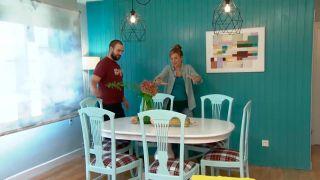 Decorar salón comedor nórdico con friso en tonos verdes - paso 10