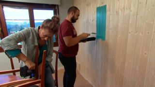 Decorar salón comedor nórdico con friso en tonos verdes - paso 7