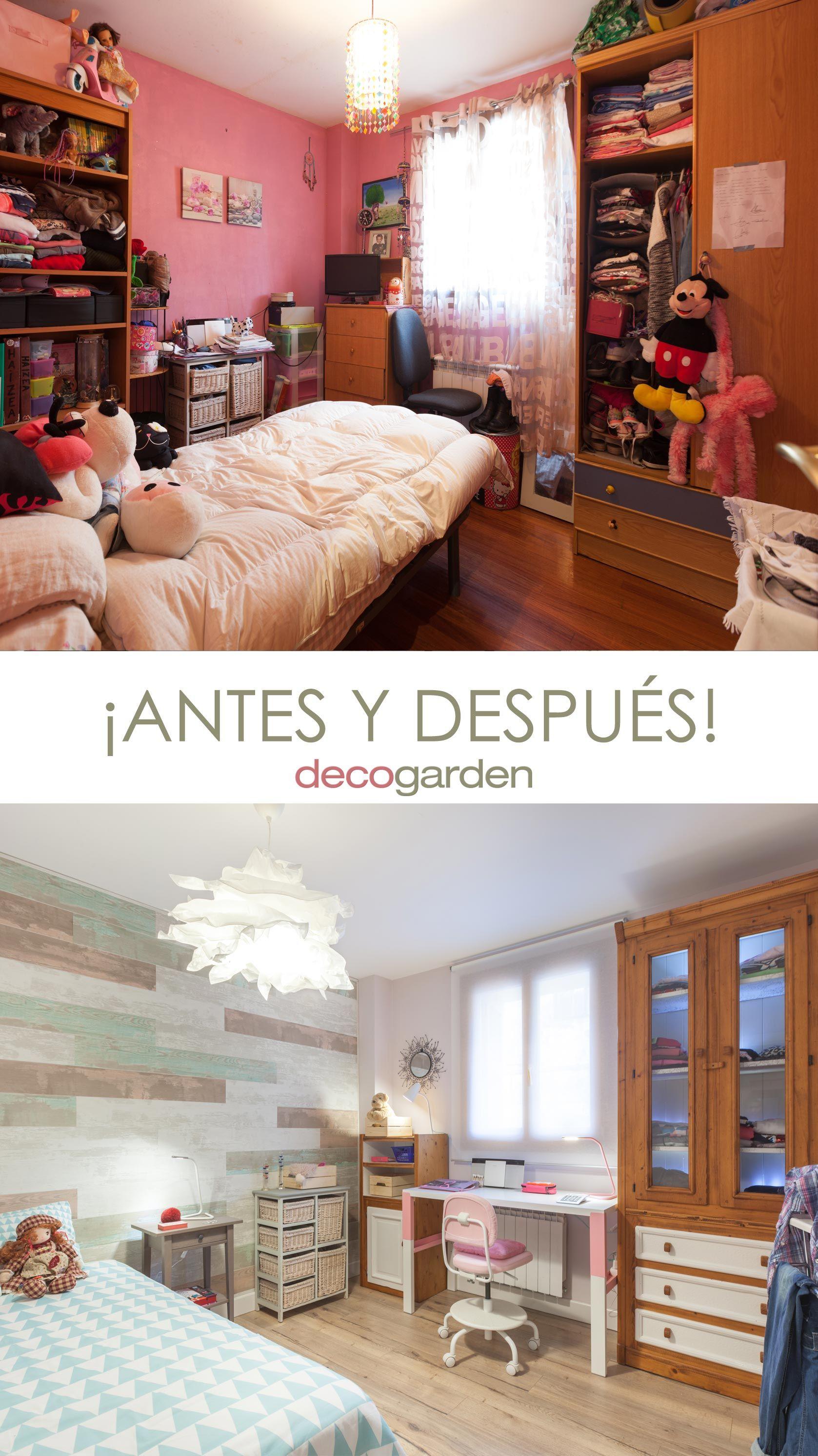 Decorar dormitorio juvenil con estudio rosa - antes y después