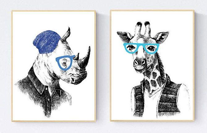 Pósters y cuadros de animales.