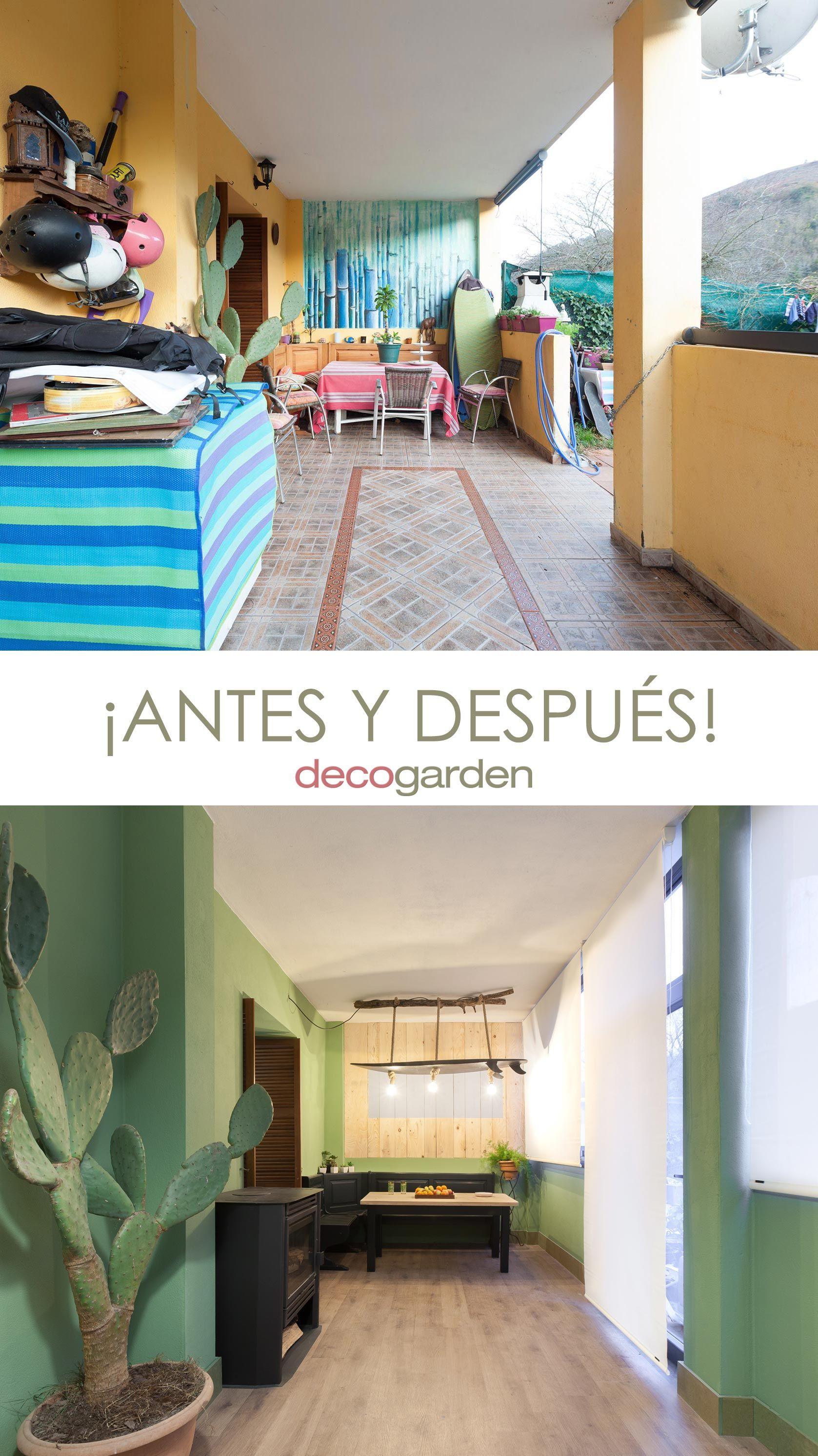 decorar un porche juvenil en color verde - antes y después