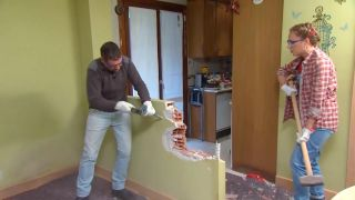 Decorar salón comedor con cocina abierta en madera - paso 1
